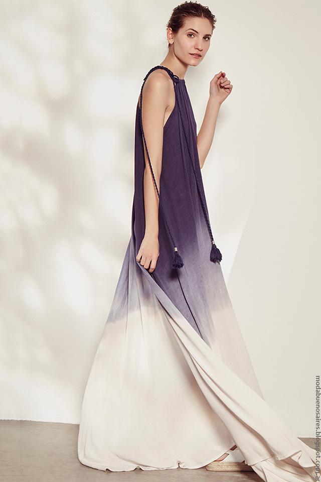 Moda primavera verano 2017 colección Clara. Vestidos largos tendencia de moda verano 2017.