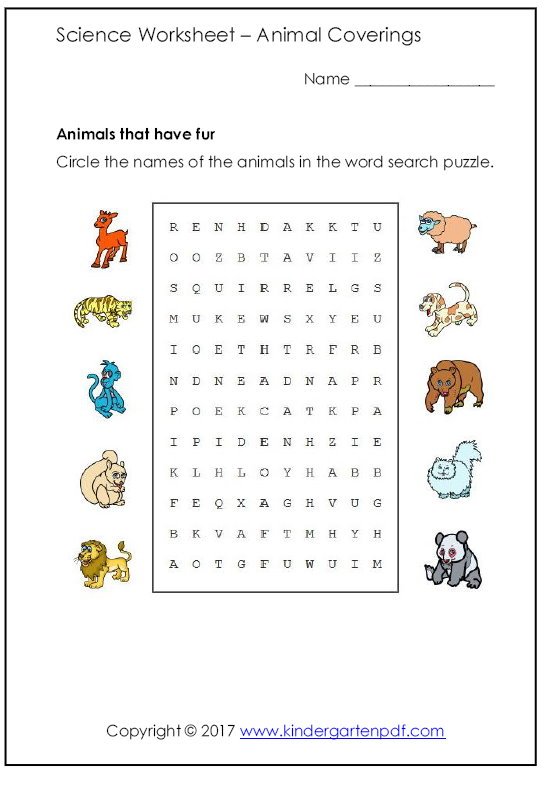 Free Nursery Worksheets: Animal Science Worksheets for Nursery ...