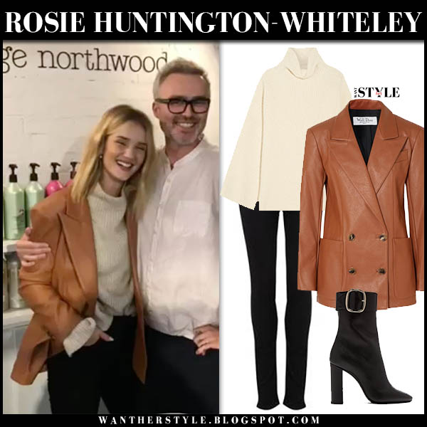 Rosie Huntington-Whiteley in brown leather we11done blazer, beige sweater and black jeans chic winter look december 12
