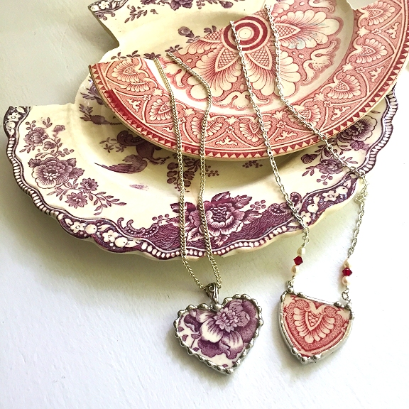 Broken china jewelry by Laura Beth Love Dishfunctional Designs