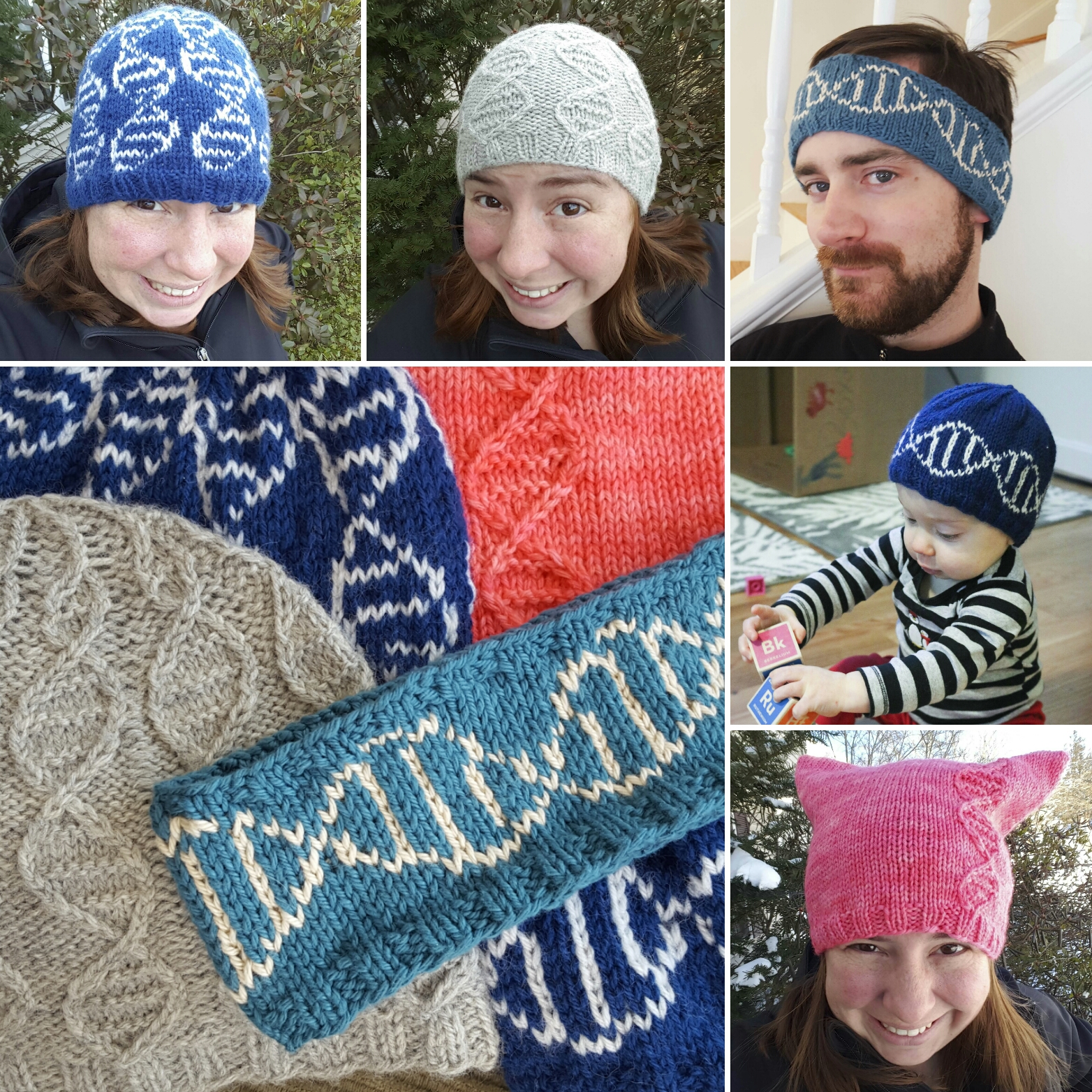Chemknits the geneie collection of dna beanie hats the first 5 patterns of the geneie collection designed by chemknits in support of the march for science geneie colorwork version geneie cable version jeuxipadfo Images