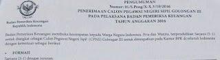 Pengumuman Penerimaan CPNS BPK 2016