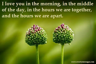 I love you in the morning, in the middle of the day, in the hours we are together, and the hours we are apart.