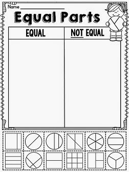 Equal parts worksheet for first grade fractions that practices sorting shapes as having equal parts or unequal parts in a fun way and other fun ideas