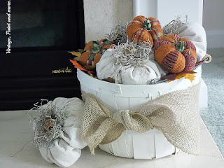 Vintage, Paint and more... DIY pumpkins made from painters drop cloth for a vintage fall vignette