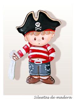 silueta infantil en madera niño pirata babydelicatessen