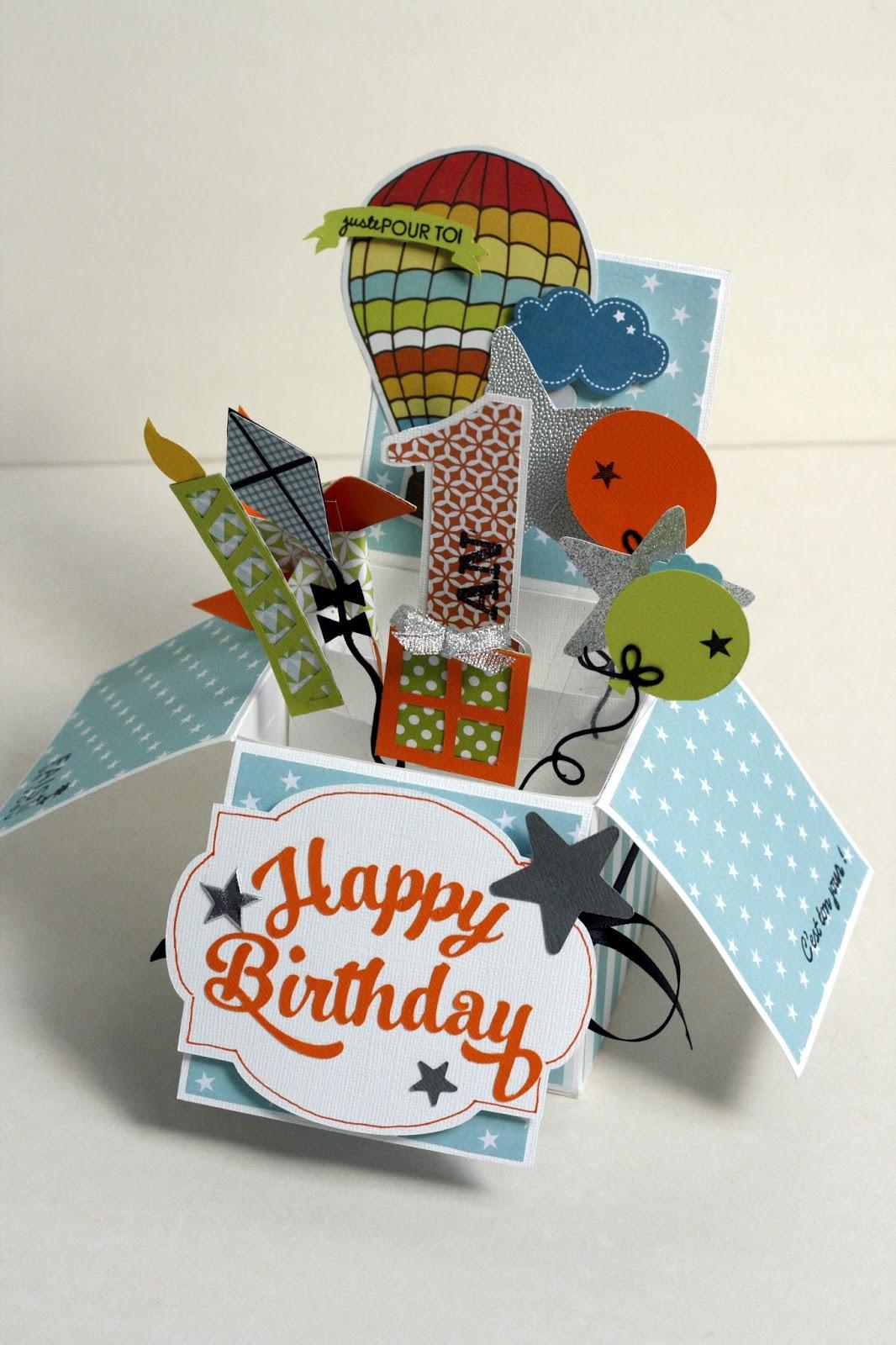 carte anniversaire pop up un après midi de scrap: Carte anniversaire pop up