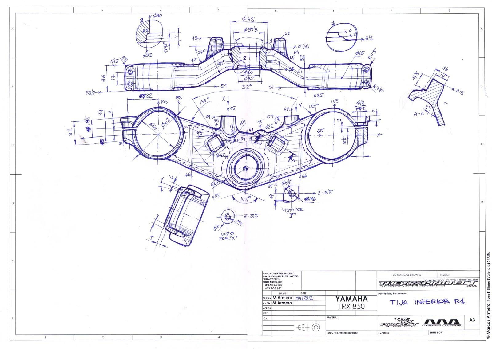 The TRX Project The Yamaha TRX 850 blog: 3D Yamaha R1 (RN04) Lower Yoke