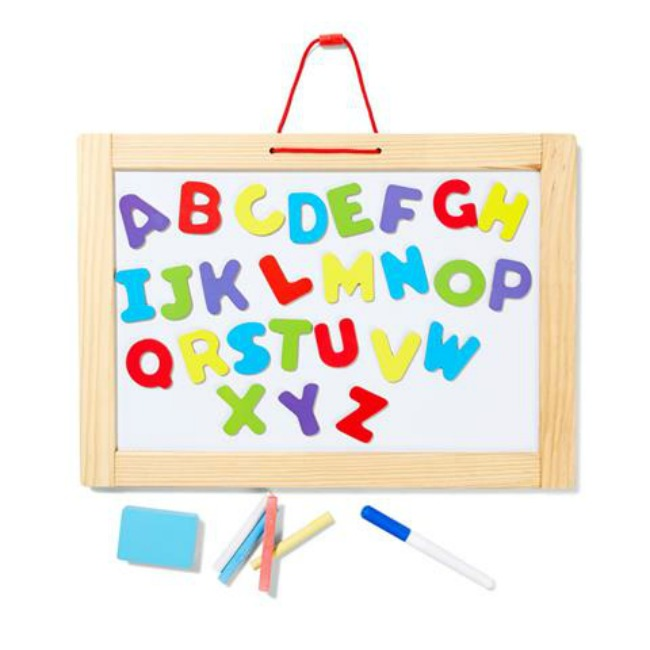 kmart whiteboard with alphabet magnets
