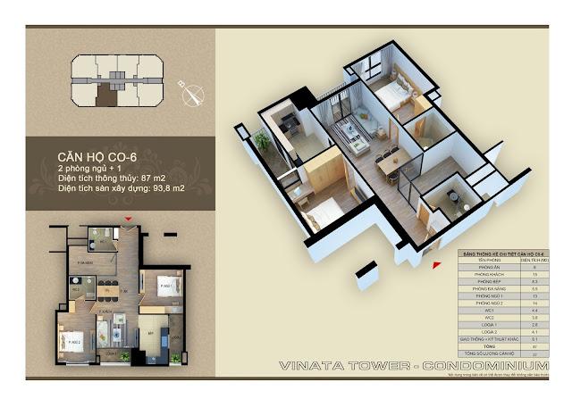 Thiết kế căn hộ chung cư Vinata Tower CO-06