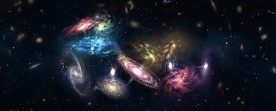 Representación del supercúmulo de galaxias SPT2349