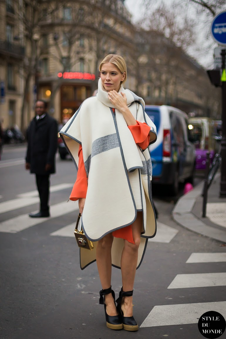 elena-perminova-white-cape-orange-dress-street-style