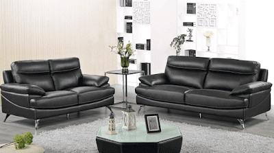 Hendrix Black Leather Modern Sofa Set Furniture