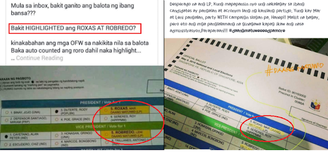 Duterte supporters appeals for investigation over ballots with highlighted names of LP candidates