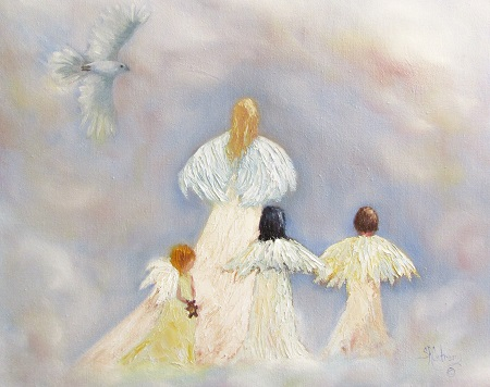 """A Walk in the Clouds"", four angels and a dove in heaven  SOLD"