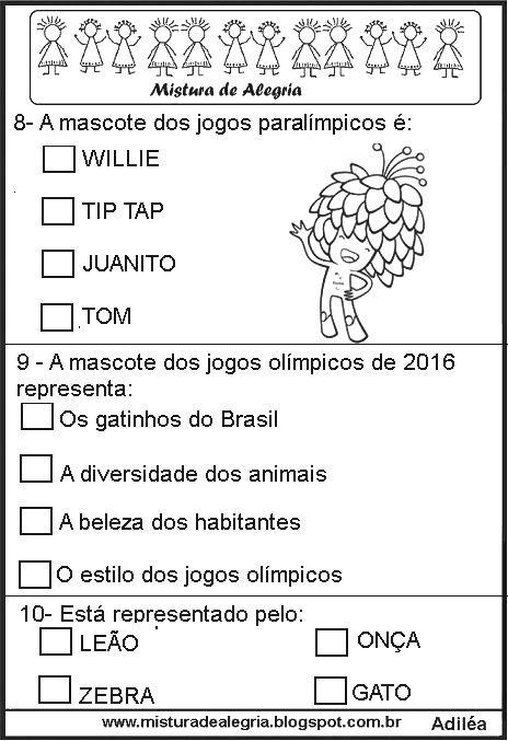 Super SIMULADO DE HISTÓRIA SOBRE OS JOGOS OLÍMPICOS 2016, IMPRIMIR E  FE26