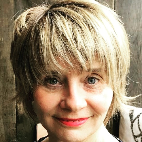 Gail Hanlon, blogger, with new choppier hair cut and colour