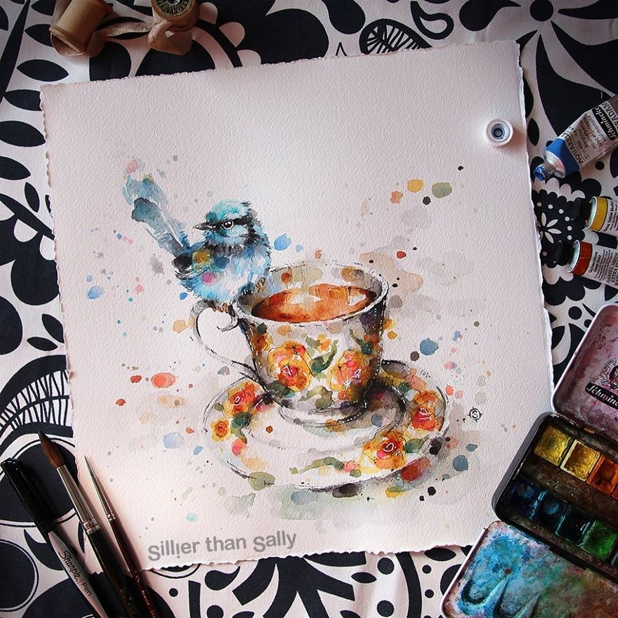 02-A-cup-of-tea-Sally-Walsh-sillierthansally-Watercolour-Portraits-Paintings-of-Wildlife-www-designstack-co