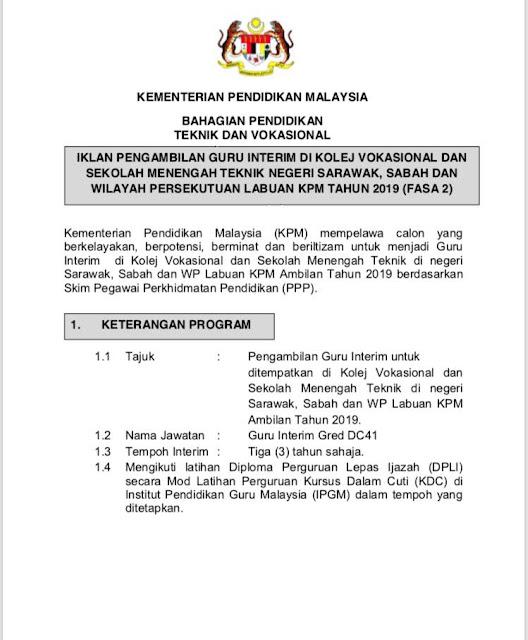Jawatan Kosong Guru Interim di Kolej Vokasional (KV) di Sarawak, Sabah & Labuan (Fasa 2) 2019