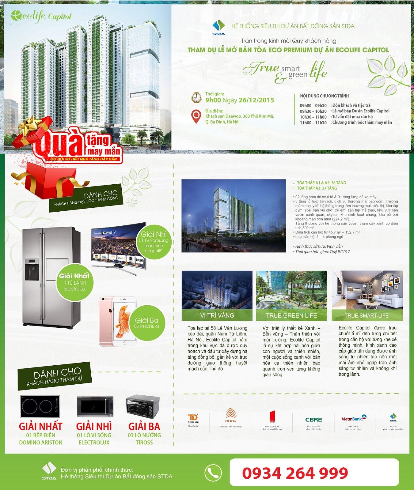 Thư mời dự lễ mở bán căn hộ Eco Premium tòa A2 -Ecolife Capitol