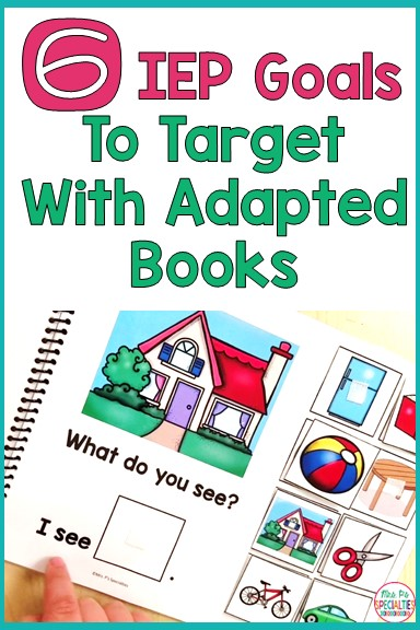 Adapted books are engaging and fun. Students WANT to interact with them, so we need to make sure we are integrating them into IEP goals. Here are 6 goals that you can address through adapted books.