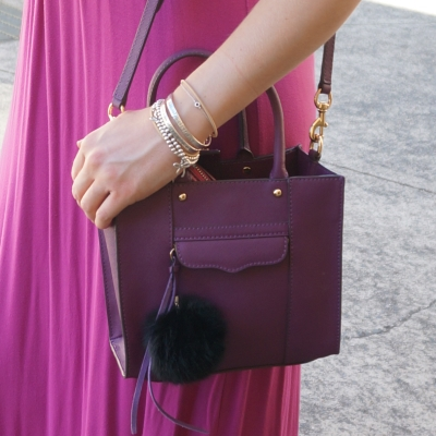pink maxi dress, Rebecca Minkoff mini MAB tote in plum purple | AwayFromTheBlue