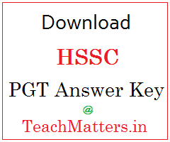 image : HSSC PGT Answer Key 2016 - Sanskrit & Geography @ TeachMatters