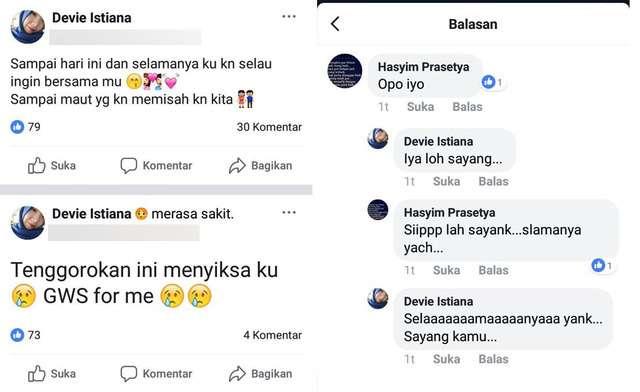 Percakapan Devi dan Hasyim di Facebook.