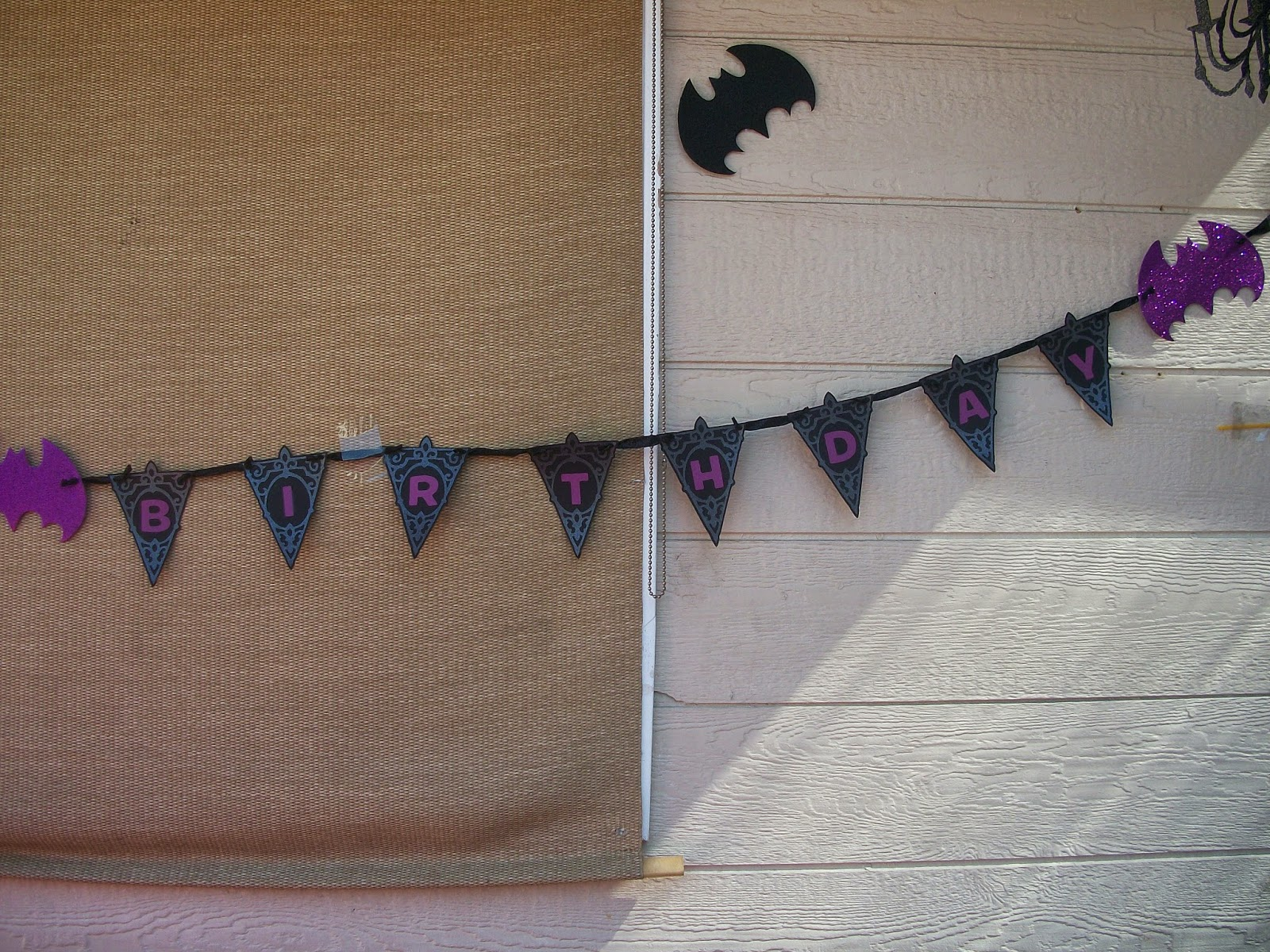 Completed DIY birthday banner on display