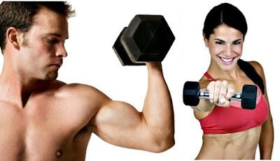 Entrenamiento pesas hombre mujer