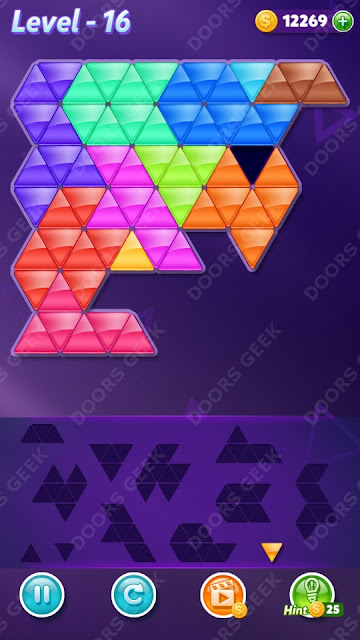 Block! Triangle Puzzle 12 Mania Level 16 Solution, Cheats, Walkthrough for Android, iPhone, iPad and iPod