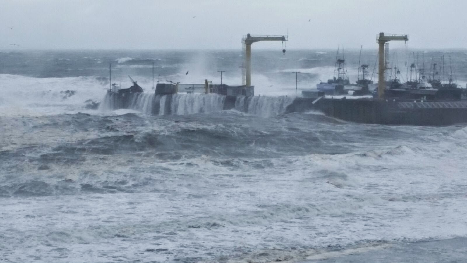 Port Orford docks awash in violent storm October 2014