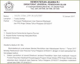 Persiapan Pelaksanaan Ujian Nasional Madrasah dan PPS Wajar Dikdas Tahun Pelajaran 2016/2017