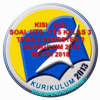 Kisi-Kisi PTS/UTS SD/MI Kelas 3 Tema 6 Semster 2 Kurikulum 2013 Tahun 2018/2019