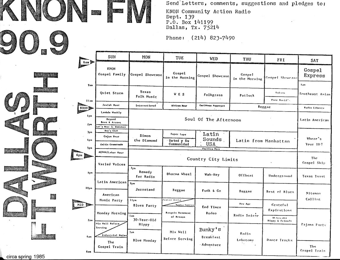 The History of KNON 89.3 FM in Dallas, Texas: KNON station