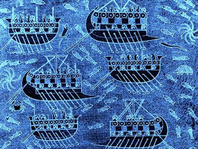 Barcos fenicios surcando el proceloso océano rumbo a las Islas Casitérides