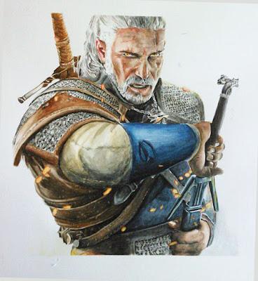 Cuadro en acuarela del personaje Geralt, del videojuegoThe Witcher III
