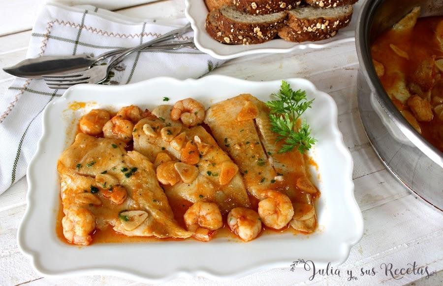 Pescada en salsa de gambas. Julia y sus recetas