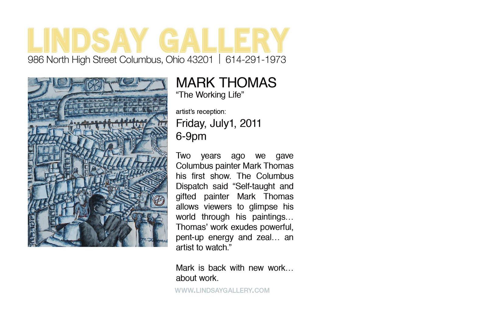 LINDSAY GALLERY: Artist's reception: MARK THOMAS, July 1