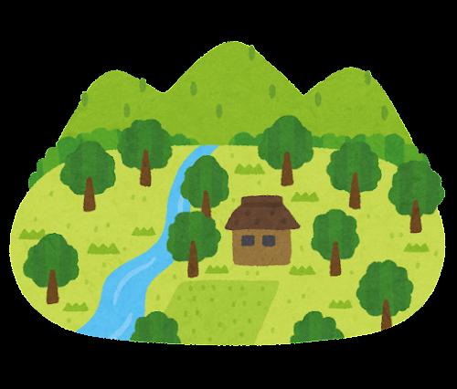 田舎の村のイラスト(過疎)
