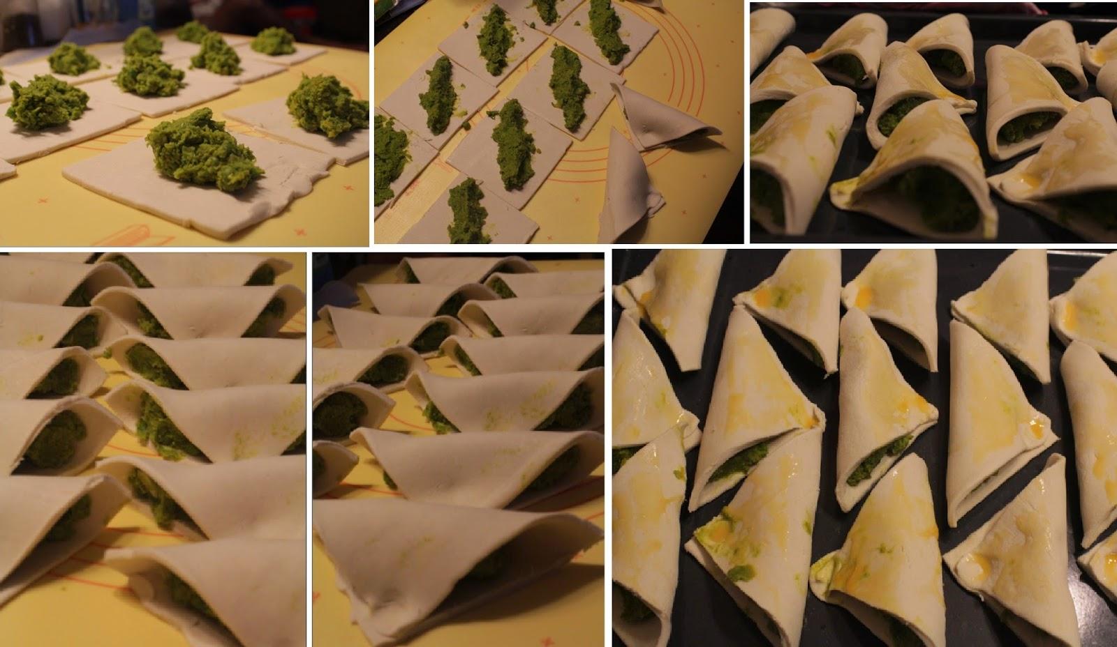 danie na przyjęcie, zakąski, fornetti, ciasto francuskie, przekąska, zielony groszek, grean peas pastizzi