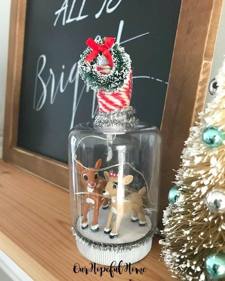 mini reindeer DIY Christmas craft snow globe