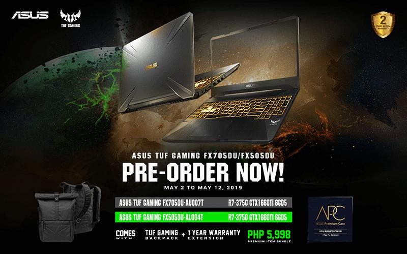 ASUS TUF Gaming FX505DU and FX705DU laptops now on pre-order