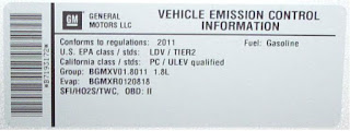 replacement emission stickers