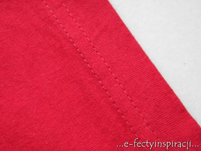 czerwony t-shirt, bluzka z krókim rękawem, jak uszyć, czerwona dzianina, podwójny ścieg drabinkowy, e-fectyinspiracji