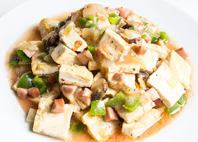 Chinese food - Tofu braised with shii-takes and tomato sauce