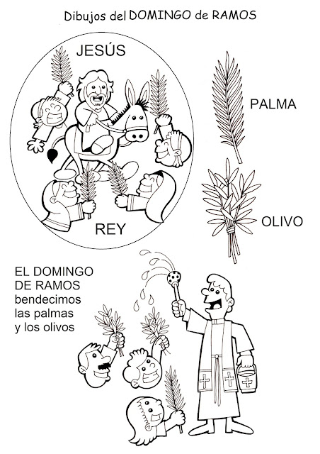 PARA COLOREAR: Domingo de Ramos para colorear