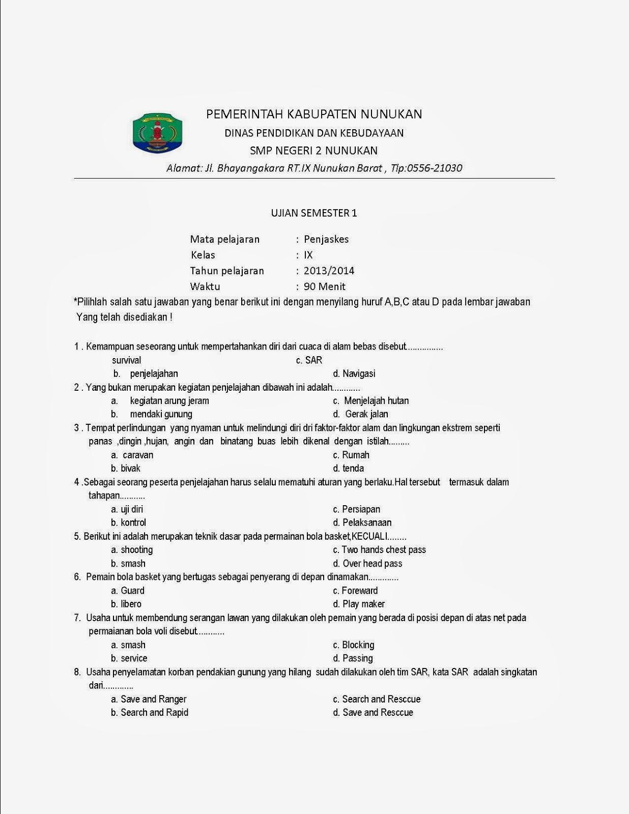 Soal Penjas Sd Kelas 1 Semester 1