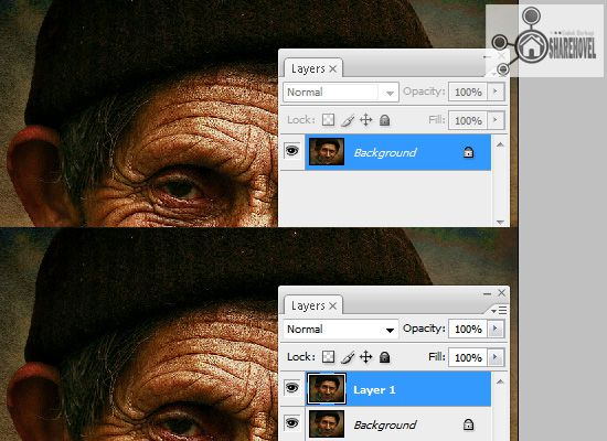 duplicate layer background ctrl j - tutorial cara membuat efek smudge painting di photoshop