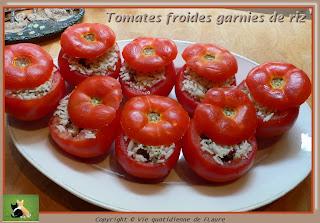 Vie quotidienne de FLaure: Tomates froides garnies de riz